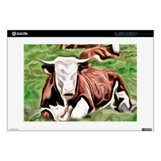 """brown and white cow sitting painting 13"""" laptop skins"""