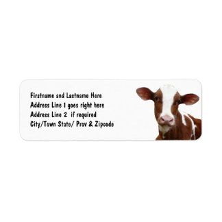 Brown and White Dairy Cow Custom Return Address Label