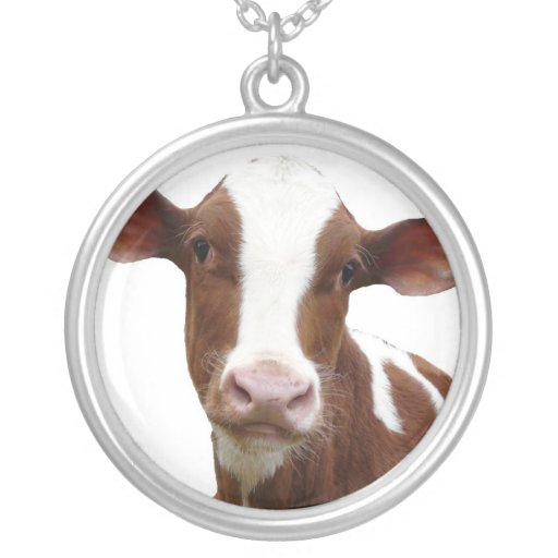 Brown and White Dairy Cow Round Pendant Necklace