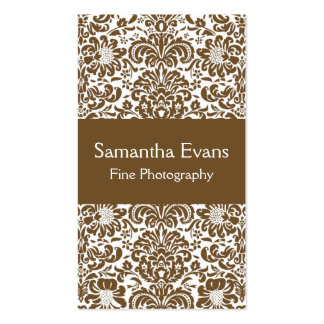 Brown and White Damask Business Card