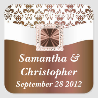 Brown and white damask square sticker