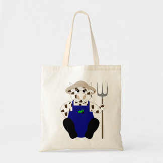 Brown And White Farmer Cow Canvas Bags