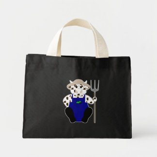 Brown And White Farmer Cow Tote Bag