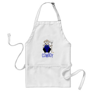Brown And White Farmer Cow Blue Cowboy Adult Apron