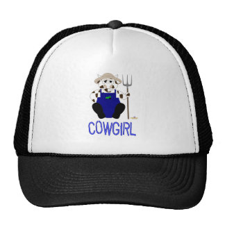 Brown And White Farmer Cow Blue Cowgirl Trucker Hat