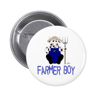 Brown And White Farmer Cow Blue Farmer Boy Button