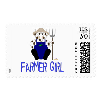 Brown And White Farmer Cow Blue Farmer Girl Postage