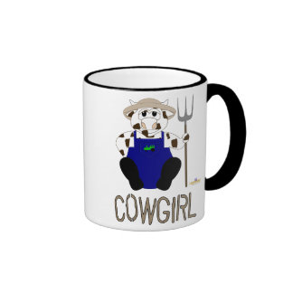 Brown And White Farmer Cow Brown Cowgirl Ringer Mug