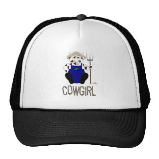 Brown And White Farmer Cow Brown Cowgirl Trucker Hat