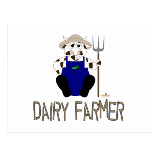 Brown And White Farmer Cow Brown Dairy Farmer Postcards