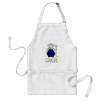 Brown And White Farmer Cow Brown White Cowgirl Adult Apron