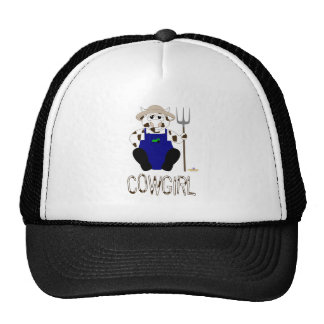Brown And White Farmer Cow Brown White Cowgirl Trucker Hat