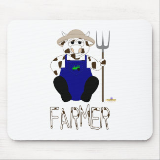 Brown And White Farmer Cow Brown White Farmer Mouse Pad