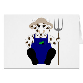 Brown And White Farmer Cow Card