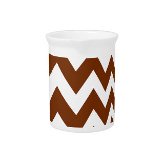 Brown and White Fast Lane Chevrons Beverage Pitcher