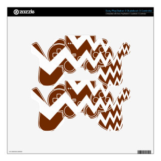 Brown and White Fast Lane Chevrons PS3 Controller Decals