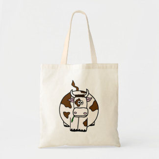 Brown and White Fat Moo Cow Tote Bag