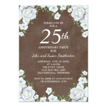 Brown and White Floral 25th Wedding Anniversary Card