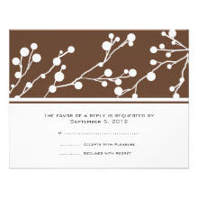 Brown and White Floral Monogram Wedding RSVP Invites
