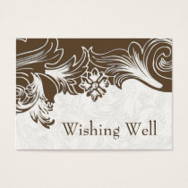 Brown and White Floral Spring Wedding Business Card