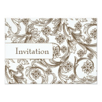 Brown and White Floral Spring Wedding Card