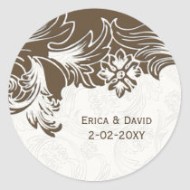 Brown and White Floral Spring Wedding Classic Round Sticker