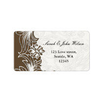 Brown and White Floral Spring Wedding Label