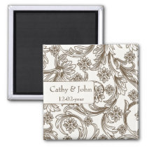 Brown and White Floral Spring Wedding Magnet