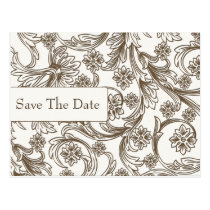 Brown and White Floral Spring Wedding Postcard