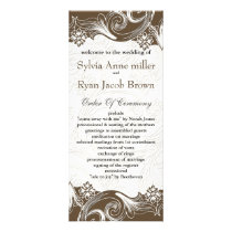 Brown and White Floral Spring Wedding Rack Card