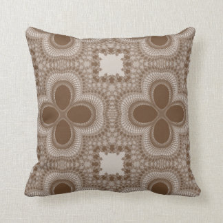 Brown and White Four Petal Flower Abstract Pillow