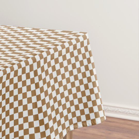 Merveilleux Brown And White Gingham Checkered Tablecloth