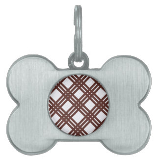 Brown and White Gingham Pet ID Tag