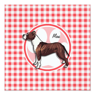 Brown and White Gingham; Red and White Gingham Custom Announcement