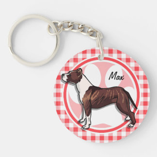 Brown and White Gingham; Red and White Gingham Double-Sided Round Acrylic Keychain