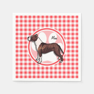 Brown and White Gingham; Red and White Gingham Napkin