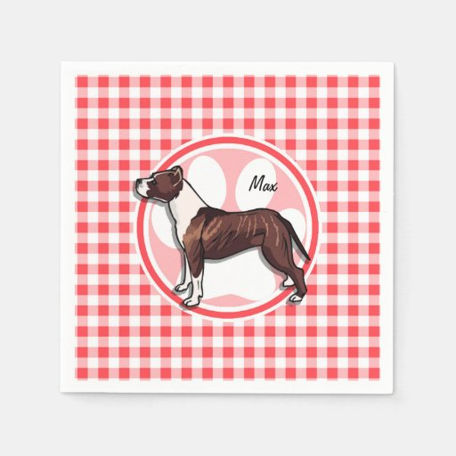 Brown and White Gingham; Red and White Gingham Paper Napkin