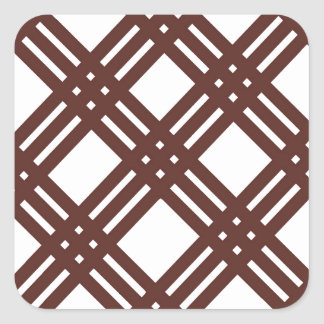 Brown and White Gingham Square Sticker