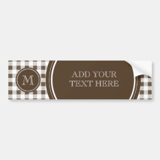 Brown and White Gingham, Your Monogram Bumper Sticker
