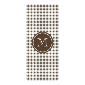 """Brown and White Gingham, Your Monogram 4"""" X 9.25"""" Invitation Card"""