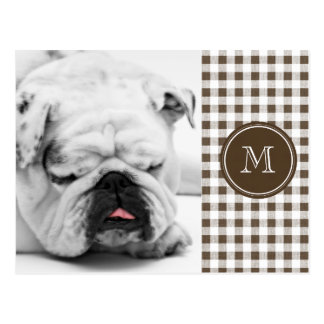 Brown and White Gingham, Your Monogram Postcard