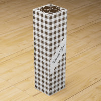 Brown and White Gingham, Your Monogram Wine Gift Box