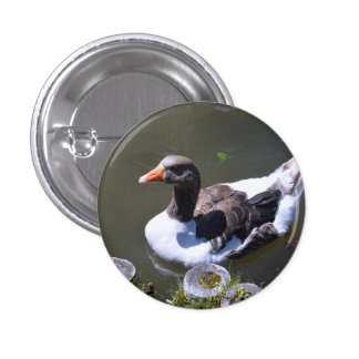 Brown and White Goose 1 Inch Round Button