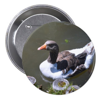Brown and White Goose 3 Inch Round Button