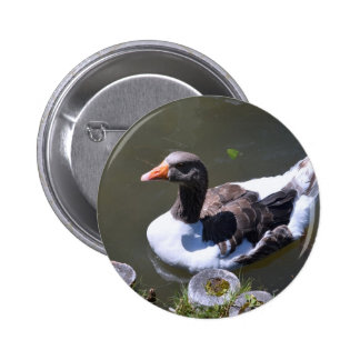 Brown and White Goose 2 Inch Round Button
