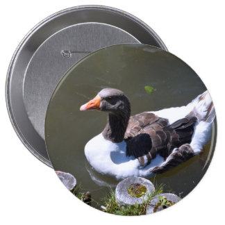 Brown and White Goose 4 Inch Round Button