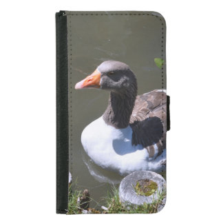Brown and White Goose Samsung Galaxy S5 Wallet Case