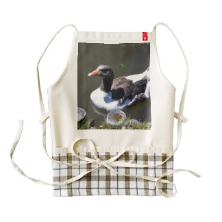Brown and White Goose Zazzle HEART Apron