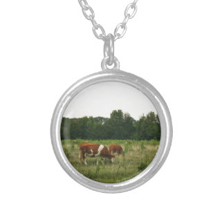 Brown and White Hereford Cattle Silver Plated Necklace