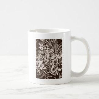 Brown and White Hibiscus Coffee Mug
